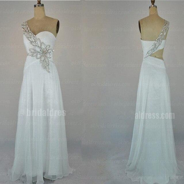 Vestido de Baile Branco longo Destaque Beading Strass Recorte de Volta de Um Ombro Chiffon Formal Vestido Das Mulheres Do Partido Tamanho Personalizado