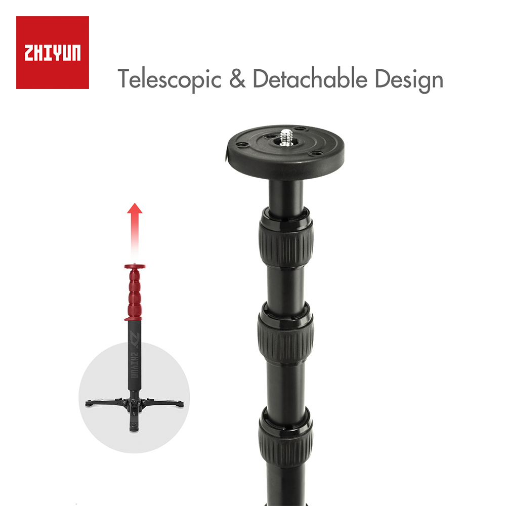 ZHIYUN Official Telescopic Monopod for Zhiyun Crane 2 for Zhiyun Handheld Gimbal Stabilizer with 1/4 Mounting Screw