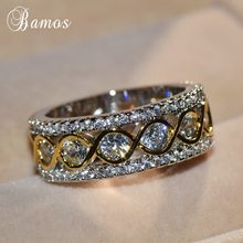 Bamos Exquisite Gold & Silver Color Promise Rings Personalized Infinity Ring Vintage Jewelry Luxury Wedding Bands For Women(China)