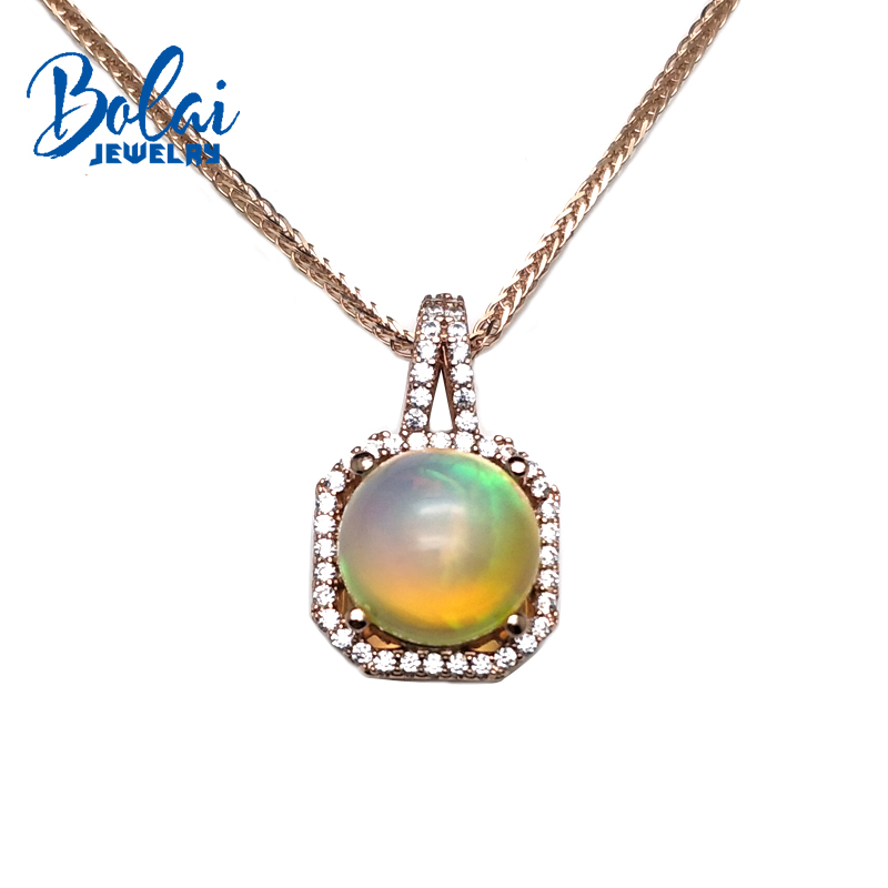 bolaijewelry,simple style natural multicolor opal round 10mm gemstone pendant in 925 silver rose color for women christmas gift simple style solid color round hairgrip for women