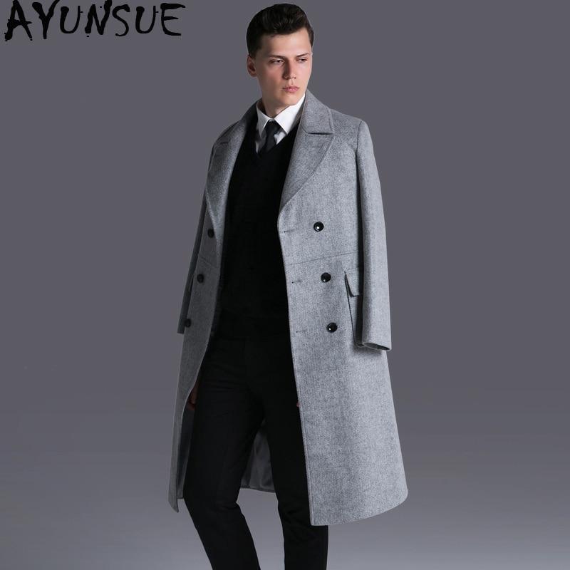 3486d919900 AYUNSUE Long Woolen Coat Men Plus Size 6xl Winter Jacket Men Wool Overcoat  Male Coats Grey Mens Clothing Abrigo Hombre KJ253-in Wool   Blends from  Men s ...