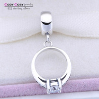 Authentic 925 Sterling Silver Floating Ring Charm Beads Fit Original Pandora Bracelet Pendant Charms With CZ