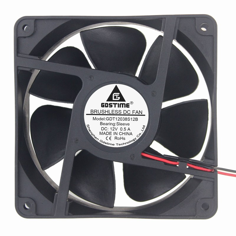 Gdstime 2 pcs 12V Cooler Radiator 120mm x 38mm PC Fan 120x120x38mm 12cm DC 2Pin Computer Case Cooling Fan computer cooler radiator with heatsink heatpipe cooling fan for hd6970 hd6950 grahics card vga cooler