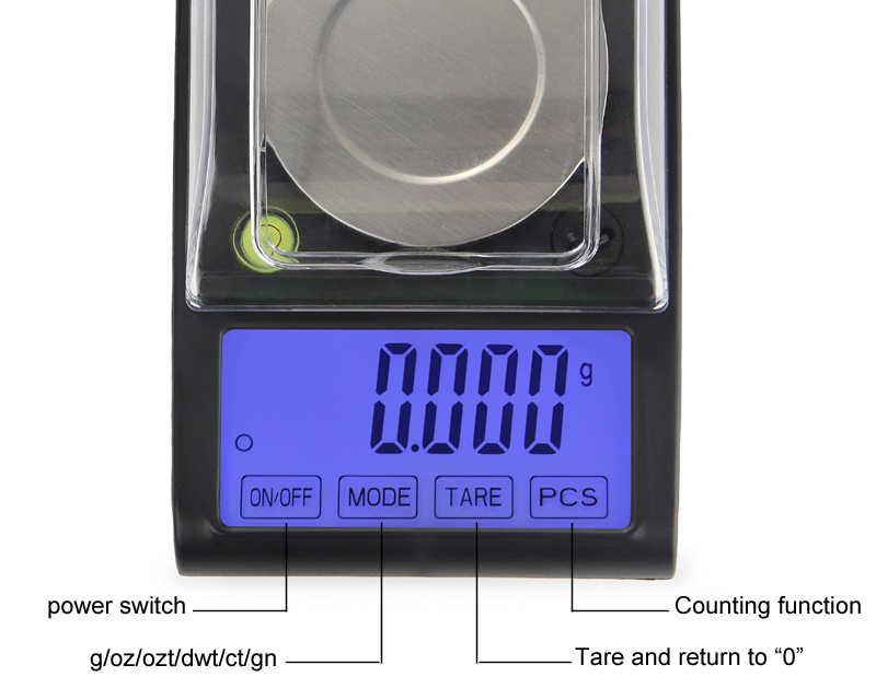 Top qualité 50g 0.001g haute précision laboratoire poids Balance bijoux diamant herbes grammes or numérique balances électroniques