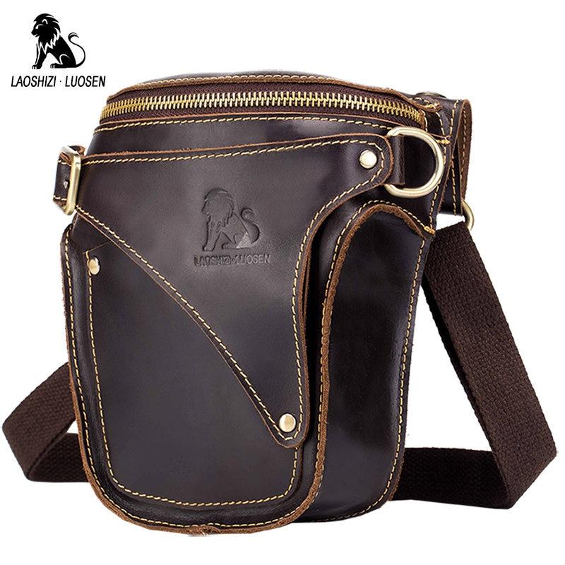 LAOSHIZI LUOSEN Men Drop Leg Bag Waist Fanny Pack Belt Military Travel Motorcycle Multi-purpose Leather Messenger Shoulder Bags