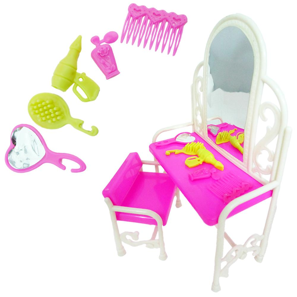 1x Pink Princess Doll Fashion Hollow Bedroom Furniture Dresser Dressing Table Chair Mirror Accessories For Barbie Doll Kid Toy