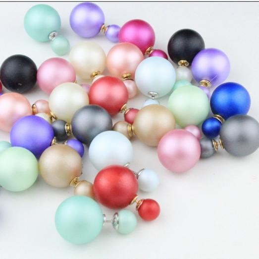 2015  fashion cheap christmas Double side pearl  beads earrings  for women retail wholesale gift/ H06