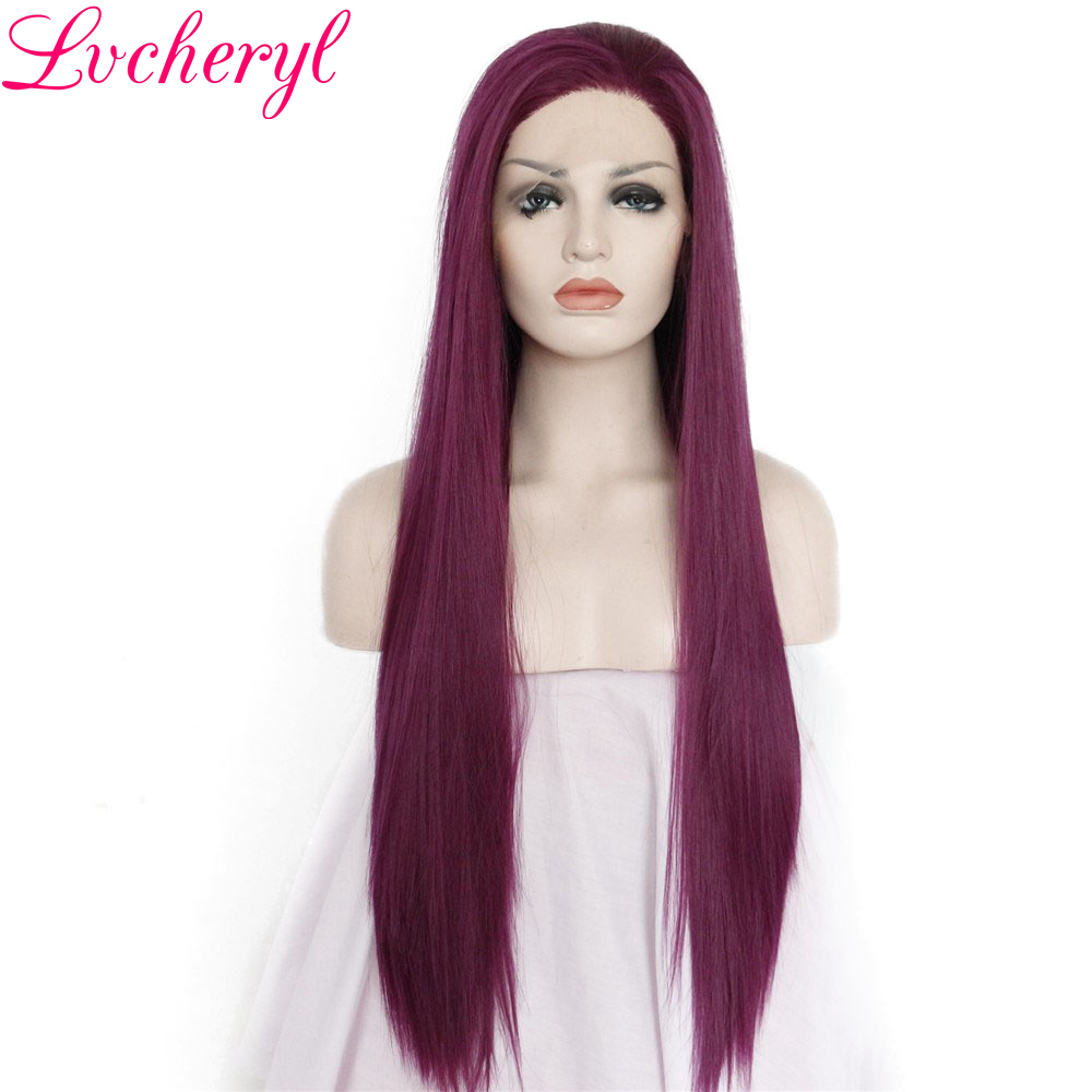 Lvcheryl Hand Tied Purple Color Long Sliky Straight High Density Heat Resistant Hair Synthetic Lace Front Wigs for Women