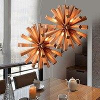 Nordic Art Restaurant Wooden Pendant Lights Living Room Home Decoration Pendant Lamps AC 220V Simple Solid Wood Lamps G9 LED
