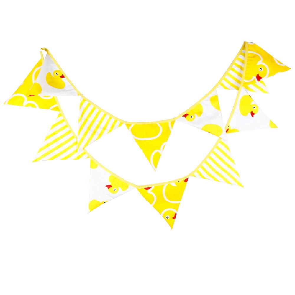 1 stücke 3,3 m baby zimmer gelbe ente bunting fahnen kinder geburtstag party favor dekoration baumwollgewebe wimpel home deco fahnen