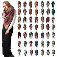 2019 new designer women winter plaid scarf square pashmina bandana cashmere thic