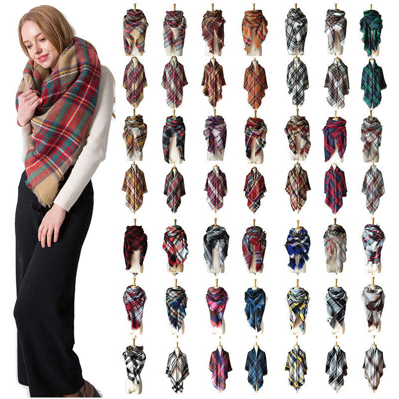 2019 New Designer Women Winter Plaid Scarf Square Pashmina Bandana Cashmere Thicken Blanket Knitted Warm Soft Shawls And Wraps