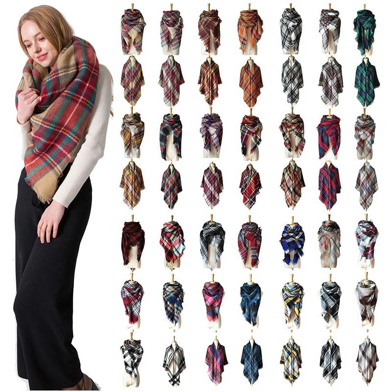 2019 new designer women winter plaid scarf square pashmina bandana cashmere thicken blanket knitted warm soft shawls and wraps|Women