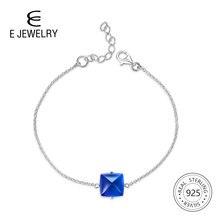 E Jewelry 925 Sterling Silver Blue Crystal Gemstone Chain Bracelet Women Simple Geometry Elegant Dainty Friendship 2019
