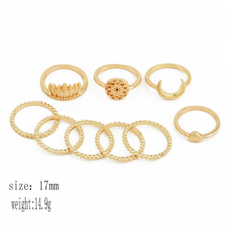 אופנה תכשיטי אישיות Monternet ירח אהבת לב טבעת טבעת סט קישוט סיטונאי טבעות לנשים פאנק Bague Homme