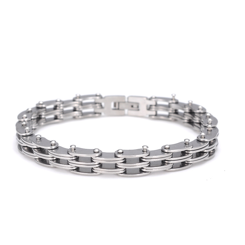 MD Fashion Stainless Steel Surgical Stainless Steel Polished Bracelets Biker Bicycle Motorcycle Men Jewelry Accessories