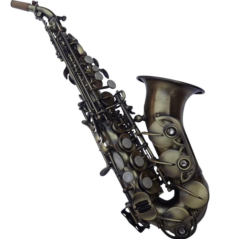 Saxophone Soprano Antique Saxophone courbé Bb haut F # avec étui Saxophone Soprano de simulation en cuivre Antique