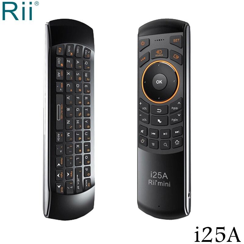 Rii i25A Mini 2.4 GHz clavier sans fil Air souris avec fonction Audio et IR pour Android TV Box/Mini PC/ordinateur portable