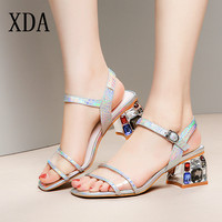 XDA 2019 New Gladiator Women Genuine Leather Sandals Crystal High Heel Fashion Female Shoes summer buckles Party Sandals D206