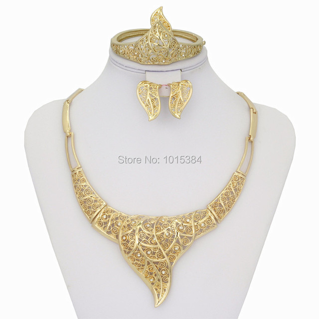 2016 Vintage Fashion Dubai african crystal gold plated jewelry sets
