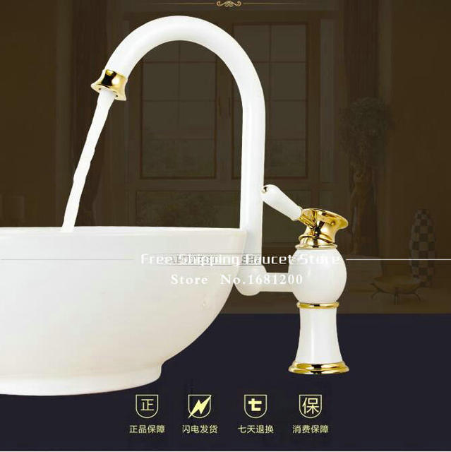 Free shipping Contemporary Concise White painted Bathroom Faucet ...