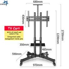 "Купить с кэшбэком Universal TV Cart Height Adjustable Mobile TV Trolley Stand for 32""-65""LED LCD Plasma TV with Adjustable AV Shelf Camera Holder"