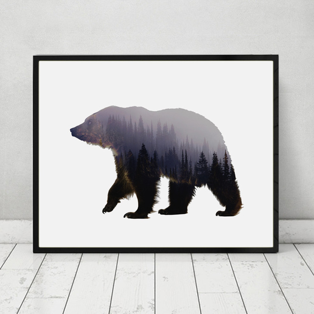 Bear Art Print Fine Paper Wall Hanging Animal Forest Poster Living Room Decor