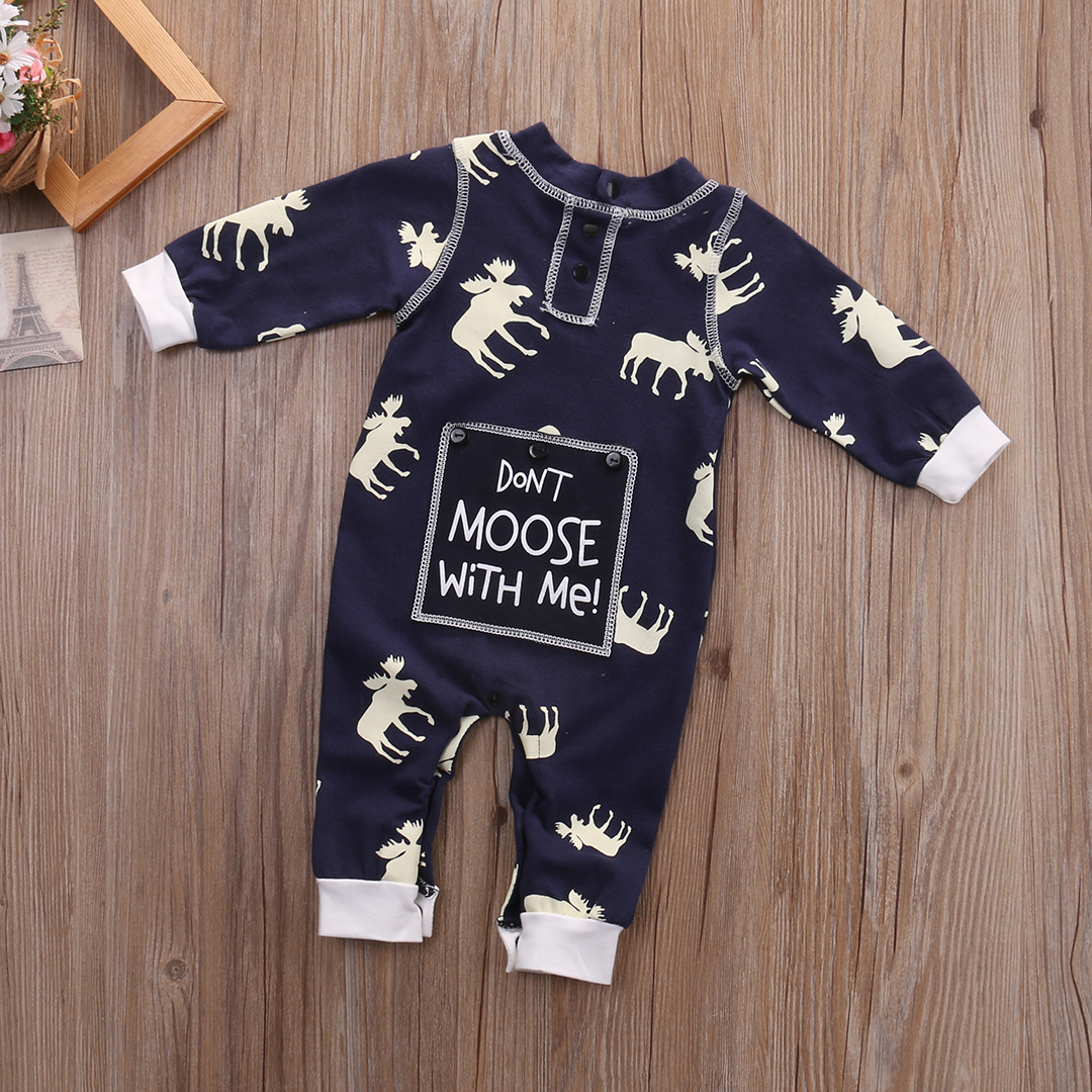 Fashon Newborn Infant Baby Girl Boy Moose Deer Long Sleeve Cotton Romper One-pieces Xmas Outfits Christmas 9