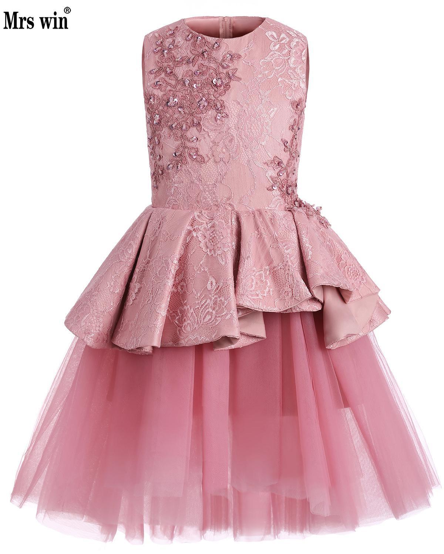 Deep Pink Princess Little Flower Girls Dresses For Weddings Kids Children Party Dresses 2018 Ball Gown Communion Dresses