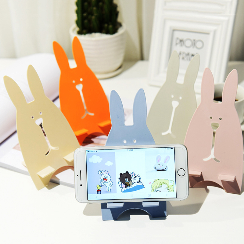 Universal Mobile Phone Holders Stands For Samsung S9 S8 For IPhone XS Max XR Cute Rabbit Wooden Kickstand Lazy Desk Holder