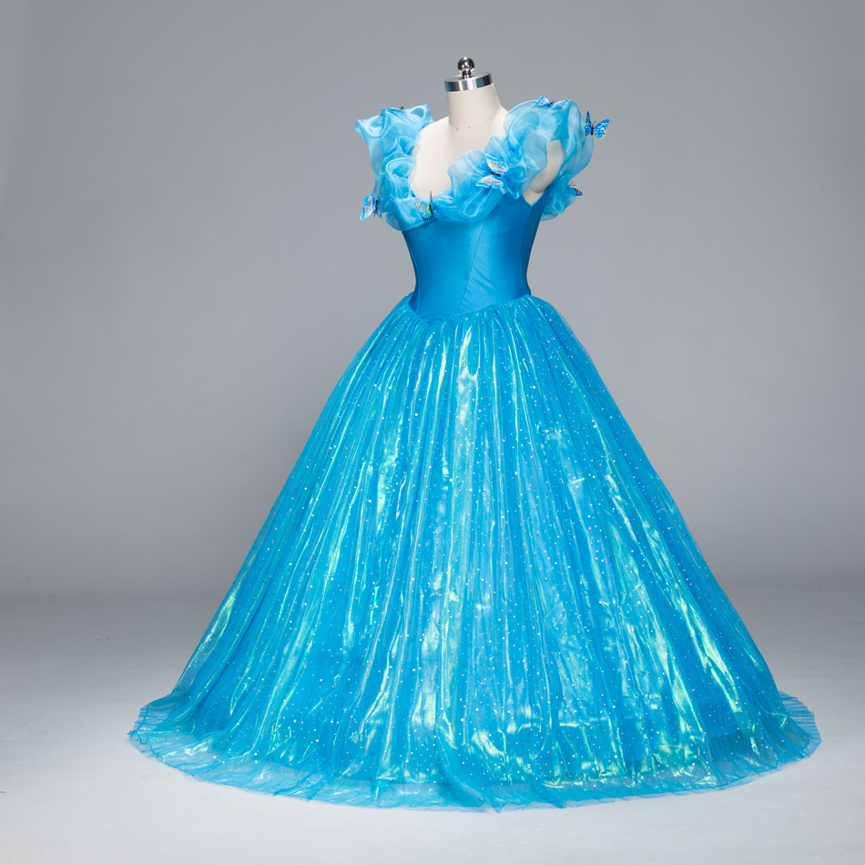Movie Deluxe Blue Adult Girls Cinderella Quinceanera Dress Cosplay Costume Princess Party Dress