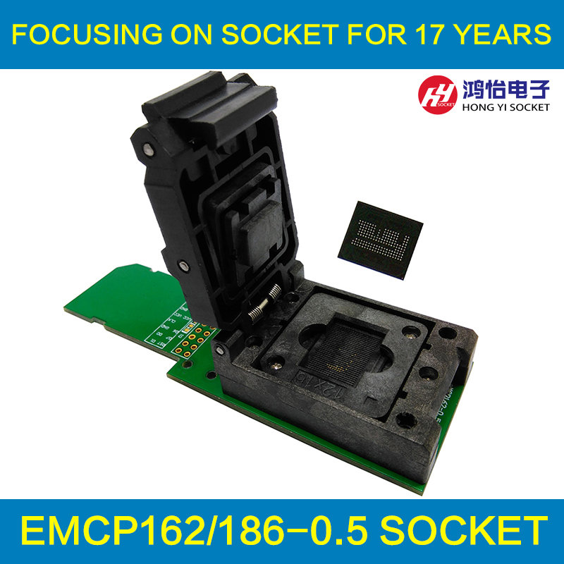 все цены на eMCP162/186 reader clamshell structure test socket with SD interface, for BGA162 /186 data recovery size 12x16mm pitch 0.5mm онлайн