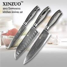 3 pcs kitchen knives set 73 layers Japanese Damascus kitchen knife set VG10 chef knife chef utility wood handle free shipping