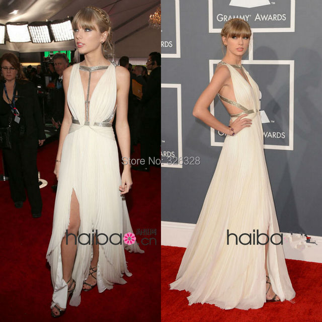 Casual Off White Red Carpet Dresses With Sliver Straps Chiffon Floor Length Asymmetrical Hem Backless Celebrity