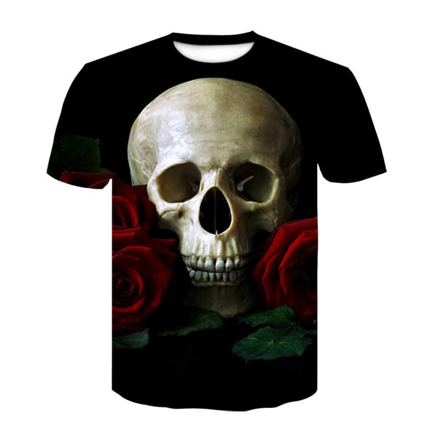 Черная футболка 3D череп футболка мужская Топ летняя футболка Качество Camiseta короткий рукав o-образным вырезом хип хоп Прямая поставка децин дю