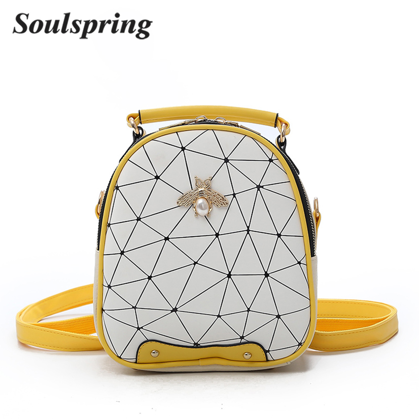 SOULSPRING Fashion Diamonds Bee Women Backpack PU Leather Small Backpacks For Women Mini Back Pack Backpacks For Teenager Girls