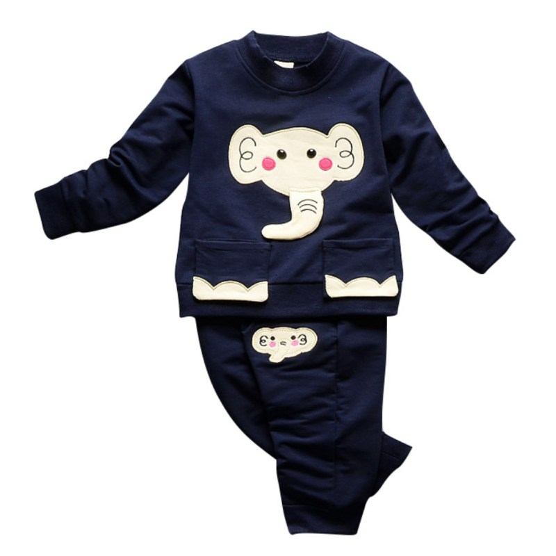 New Autumn 2pcs Cute Kid Baby Clothes Girls Boys Cartoon Elephant Sets T-Shirt Long Sleeve + Pants Casual Outfits Children Set