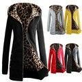 1 ШТ. Женщины Плюс Бархат Утолщенной Свитер С Капюшоном Leopard Пальто Молния