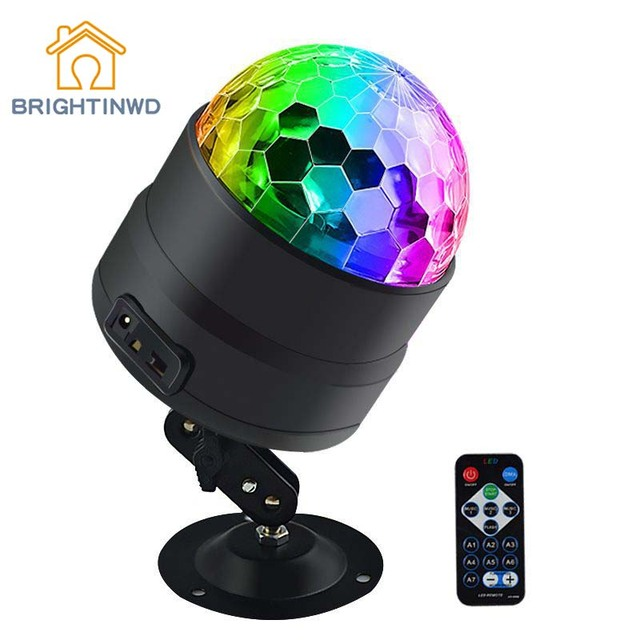 BRIGHTINWD New Dj Voice Control USB Mini Led Stage Light Disco Ktv Bar Room Family Party Crystal Small Magic Ball Light Flash