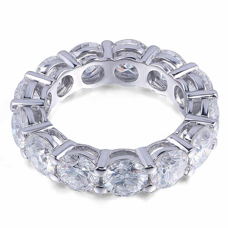 Vecalon 925 Серебряное кольцо вечности 6 мм 5A Циркон Sona Cz обручальные Обручальные кольца для женщин Свадебные украшения для пальцев