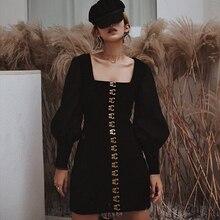 Винтажное женское платье-карандаш с рукавом-фонариком, подиумное зимнее черное бархатное однобортное платье на пуговицах, сексуальное короткое платье с квадратным воротником