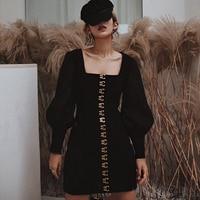 Vintage Lantern Sleeve Women Pencil Dress Runway Winter Black Velvet Single Breasted Button Dress Sexy Square Collar Short Dress