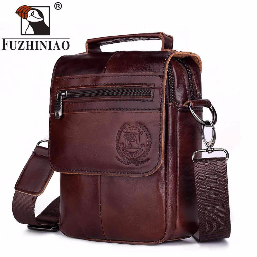FUZHINIAO Zipper Design Men Travel Bags Genuine Leather Messenger Bag For Fashion High Quality Cross Body Shoulder Bags Small