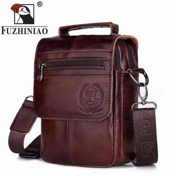 FUZHINIAO Zipper Design Men Travel Bags Genuine Leather Messenger Bag For Fashion High Quality Cross Body Shoulder Bags Small - DISCOUNT ITEM  44% OFF All Category