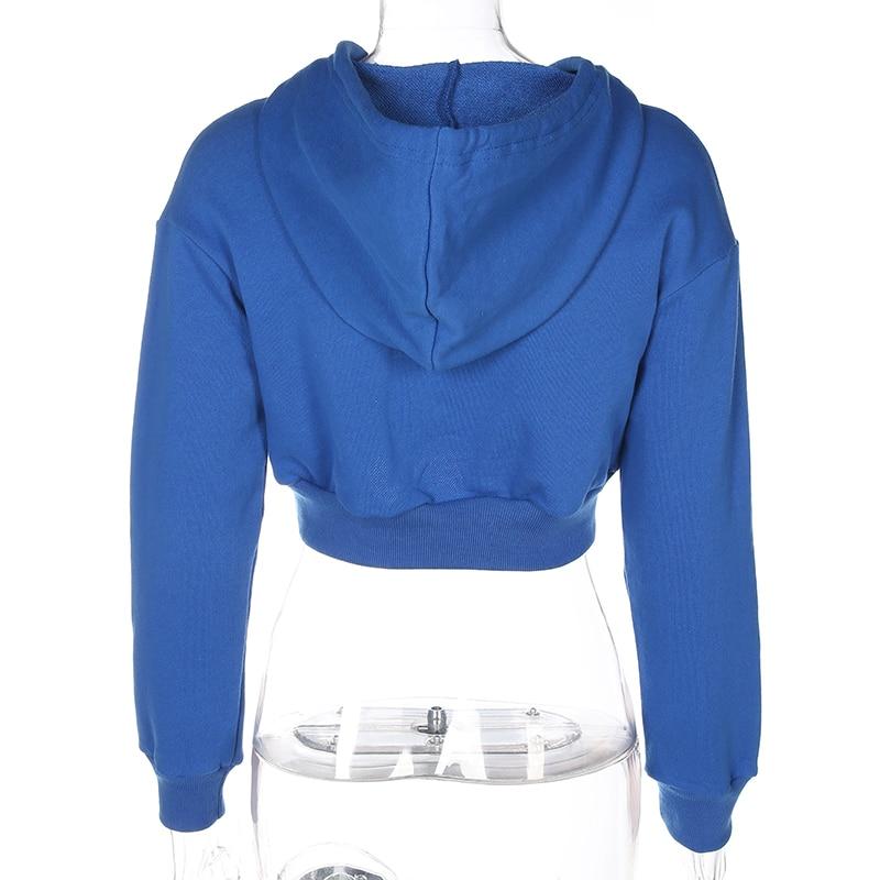 Womens Bule Soild Long Sleeve Autumn Hooded Pullovers Casual Short Woden Sweatshirts Fashion High Waist Pop Hoodies Dropship