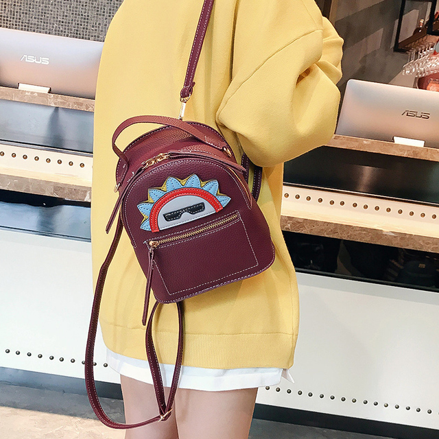 817fbe211578 Fashion Women Leather Backpack for Teengaers Girls Famous Designer Cute  School Bags Ladies Female Backpacks Pu Shoulder Bags-in Backpacks from  Luggage ...