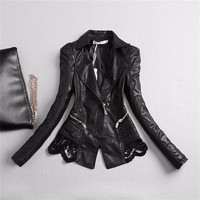 New Lady Autumn Fashion brand Jacket Lace Patchwork Slim Women Jacket Pu Leather V neck Short Outwear jacket wj1176