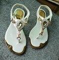 МОДА женщин Сандалии тапочки Кристалл ботинок квартир женщин Летние Шлепанцы Металлические бренд большой плюс размер 35-42
