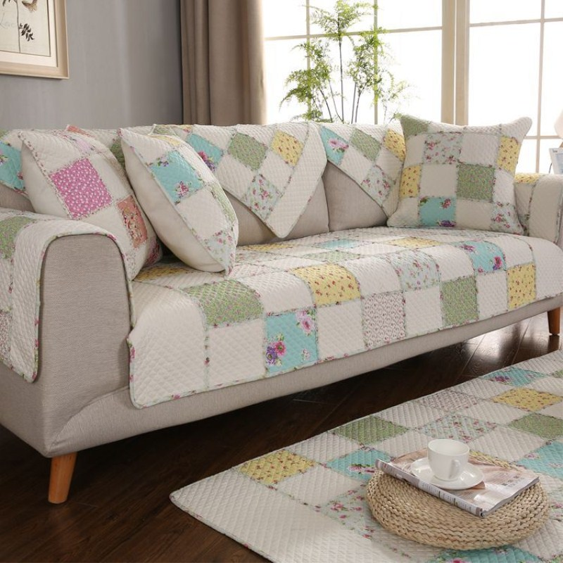 1 Pcs Quilted 100 Cotton Sofa Cover Sofa Towel Leather Sofa