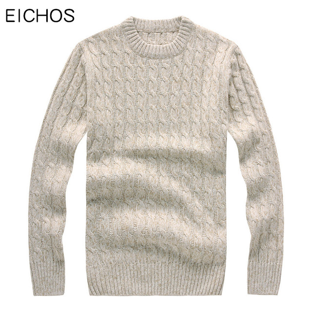 27c0d0e4483789 EICHOS Winter Knitted Wool Sweater Men Long Sleeves Thick Pullover Mens  Round Collar Solid Warm Woolen